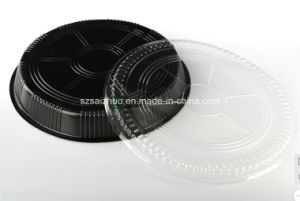 Round Floral Printed Top Grade Disposable Plastic Sushi Tray (S65R) pictures & photos