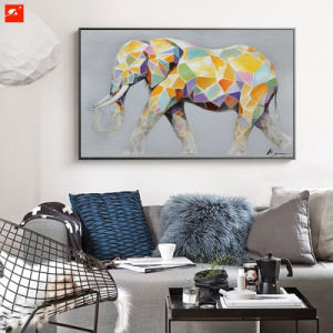 Cartoon Cute Animal Colorful Elephant Canvas Oil Painting pictures & photos