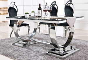 Luxury Rectangle Stable Stainless Steel Dining Table pictures & photos