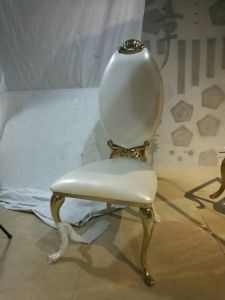 Fancy White PU Carved Stainless Steel Wedding Chair Dining Chair pictures & photos