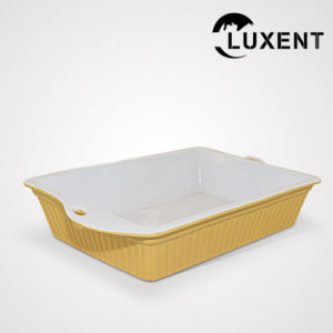 China Transportable Porcelain Restaurant Colorful Rectangle Baking Trays pictures & photos