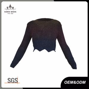 Ladies Rainbow Glitter Long Sleeve Scallop Cropped Sweater pictures & photos