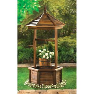 Wooden Rustic Wishing Well Planter Bucket Flower Plant Stand pictures & photos