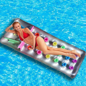 Family Party Products PVC or TPU Inflatable Floating Airmattress with 18 Holes pictures & photos