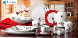 49PCS Square Bone China White Dinner Plate Manufacturer pictures & photos