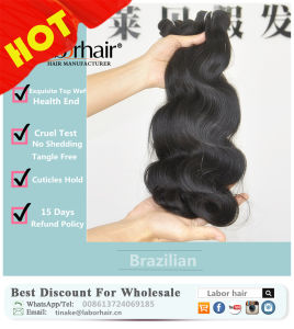 Unprocessed Labor Hair Extension 105g (+/-2g) /Bundle Natural Brazilian Virgin Hair Body Wave 100% Human Hair Weaves Grade 8A pictures & photos