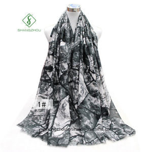 Fashion Thick Satin Printing Customized Sunscreen Lady Scarf Shawl Factory pictures & photos
