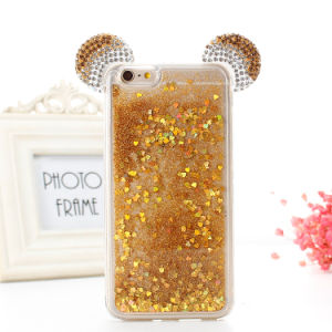 3D Decoration Mickey Ear Glitter Bling Liquid Sand Quicksand Clear TPU Phone Case pictures & photos