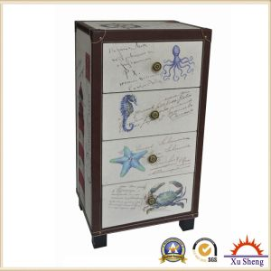 4-Drawer Fabric Accent Marine Print Wooden Chest pictures & photos