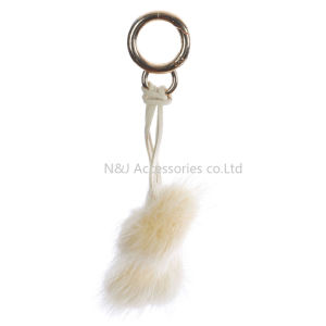 Wholesale Faux Fur POM POM Bag Accessory Beige Double Balls Keychain Jewelry Gift pictures & photos
