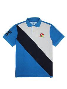 Quality Cotton Pique Embroidered Man′s Polo Shirt of V-Neck
