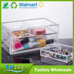2 Tiers 3 Drawers Clear Acrylic Makeup Jewelry Storage Organizer pictures & photos