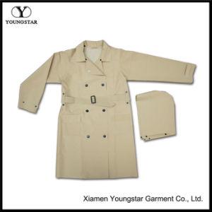 Khaki Waterproof Rainwear Women Long Raincoat with Hood Stylish pictures & photos