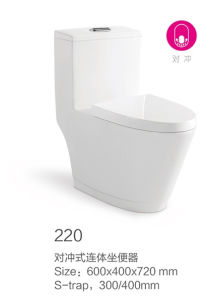220 Double Hole Excess Eddy Siphonic One-Piece Toilet New Model pictures & photos
