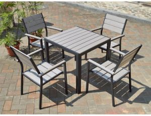Patio Outdoor Furniture Aluminum Plastic Wood Arm Chair Table (J806) pictures & photos