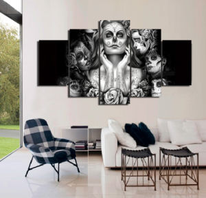 HD Printed Day of The Dead Face Painting on Canvas Room Decoration Print Poster Picture Canvas Painting Mc-004 pictures & photos