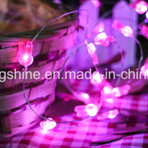 Rabbit String Lights 2.3FT 15 LEDs Silver Wire Battery Powered Fairy Rope Light for Decoration pictures & photos