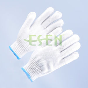 7 Pins Natural White Cotton Gloves for Construction, Winter Knitted Cotton Gloves pictures & photos