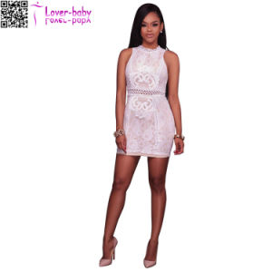 Maeva Lace Overlay Ivory Mock Neck Mini Dress L28227-1 pictures & photos