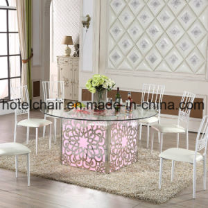 Engraved Arts Stainless Steel with LED Light Wedding Furniture Dining Table pictures & photos
