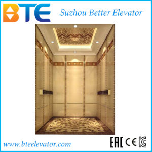 Ce Gearless Passenger Elevator with Deluxe Cabin Decoration