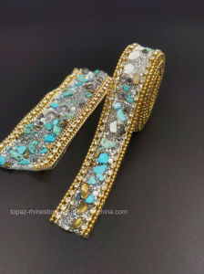Crystal Beads Crystal Rhinestone Mesh Hotfix Crystal Strip Trim (TS-042) pictures & photos