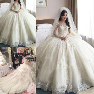 Scoop-Neck Long-Sleeves Appliques Ball Gown Cathedral Train Wedding Dress (Dream-100014) pictures & photos