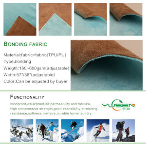 Breathable Waterproof TPE TPU PU Laminated Polyester Bonded Fleece Softshell Fabric pictures & photos