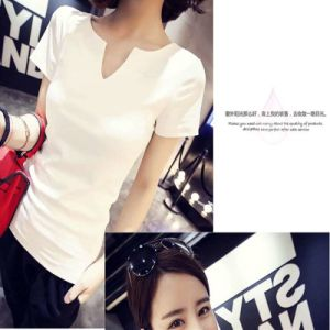 Summer White T-Shirt Short Sleeve Blouse Girl pictures & photos