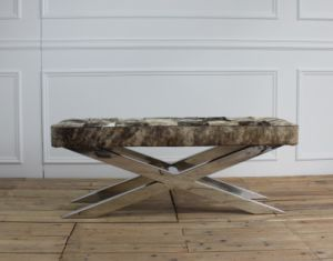 Cross Stainless Steel Frame Cowhide Ottoman Bench pictures & photos