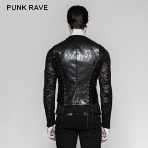 Punk Wholesale Black Mechanical Men Bandage Leather Waistcoat (Y-756) pictures & photos