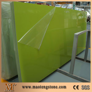 Popular Best Quality Artificial Stone Pure Green Quartz Slab pictures & photos