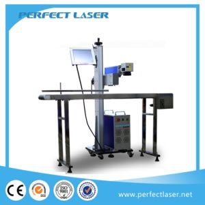 LCD Flying Metal Fiber Laser Marking Machine with Conveyor Belt pictures & photos