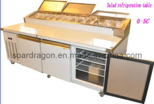S/S Refrigeration Pizza Display Counter with 4 Solid Doors pictures & photos