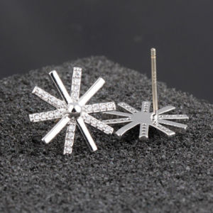 925 Sterling Silver Flower Pin Zircon Snowflake Silver Earrings pictures & photos