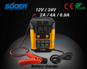 Suoer Intelligent Repair Mode 12V / 24V 2A / 4A / 6.9A Digital Display Automatic Battery Charger (A02-1224B) pictures & photos