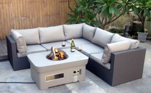 Rattan Lounge Sofa Matching with Gas Fire Pit
