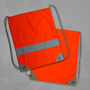 Orange Promotional Reflective Strap Drawstring Bags pictures & photos
