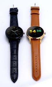Leather Band Bluetooth Smart Watch with Heart Rate Work with Ios & Andriod