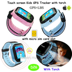 Touch Screen Child/Kids Portable GPS Tracker Watch with Flashlight D26 pictures & photos