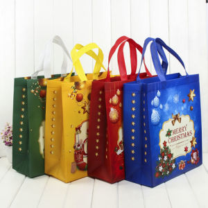 Christmas Plastic Gift Bag with Handle in Stock pictures & photos