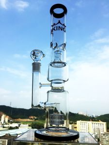Shower Head and Birdcage Perc Glass Water Pipe Hbking Glass Water Pipe Hb-K18 Smoking Pipe Wholesale pictures & photos