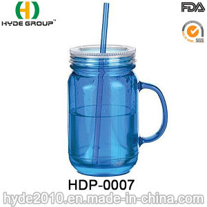 2017 Wholesale Double Wall Plastic Mason Jar with Straw (HDP-0007) pictures & photos