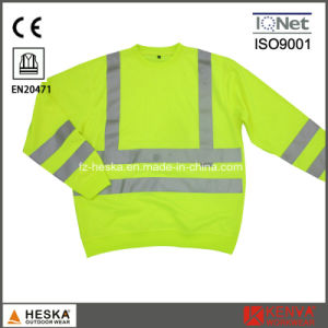 Mens Yellow Long Sleeve Knitted Wear Hi Vis Sweatshirt Safety Sweater pictures & photos