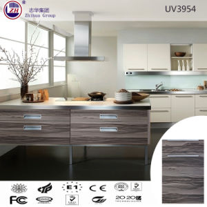 Wood Grain Color Kitchen Cabinet for Small Kitchen Design pictures & photos