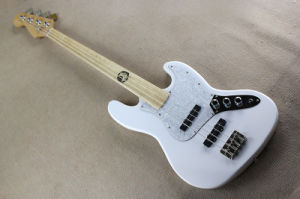 Hanhai Music/White 4 Strings Jazz Bass Guitar Without Frets pictures & photos
