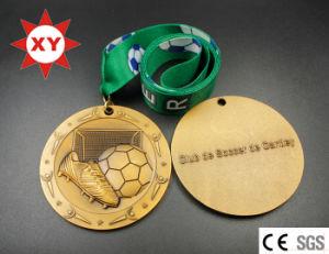 3D Football Gold Medal with Logo Ribbon pictures & photos
