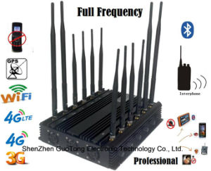 Signal Jammer GPS WiFi VHF UHF Interphone Signal Jammer 3G 4G GSM CDMA Cell Phone Signal Jammer /Blocker Full Frequency Adjustable12 Antennas