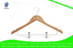 Wooden Clothes Hanger, Bamboo Suits Hanger with Metal Clips Ylbm3015-Ntlnbs1 pictures & photos