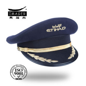 Customized Distinctive Police Hat with Gold Strap pictures & photos